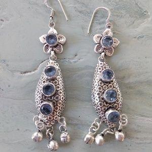 Cute long Iolite earrings